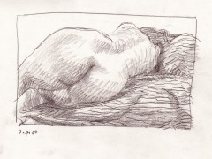 reclining nude back graphite